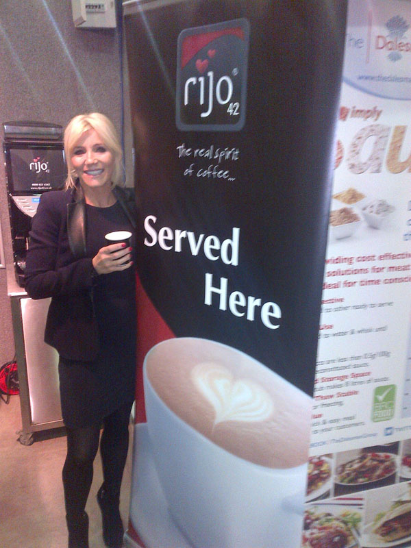 Coronation Street Actress Michelle Collins Enjoying A rijo42 Coffee