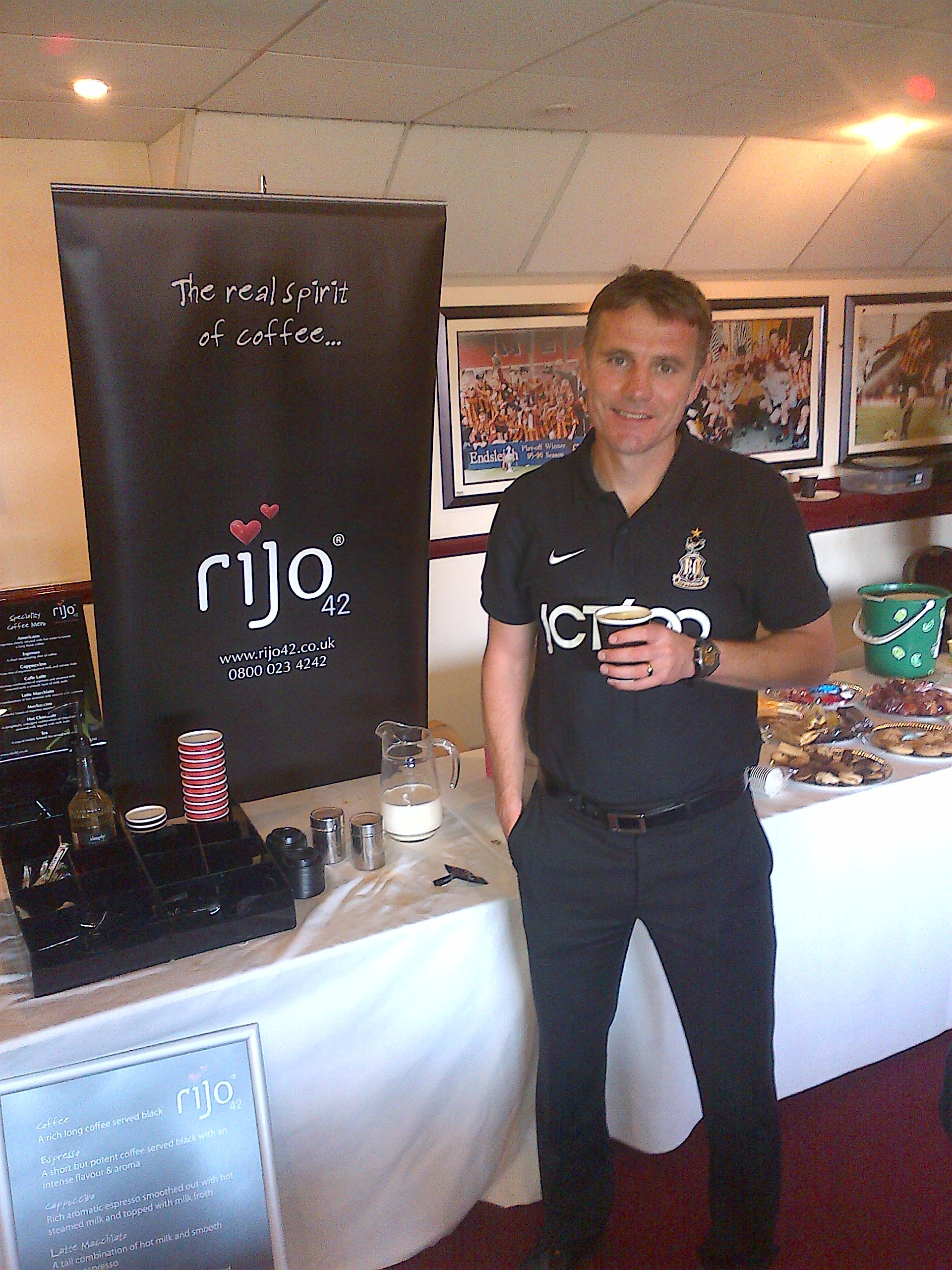 Bradford City Boss Phil Parkinson Enjoying a rijo42 Latte