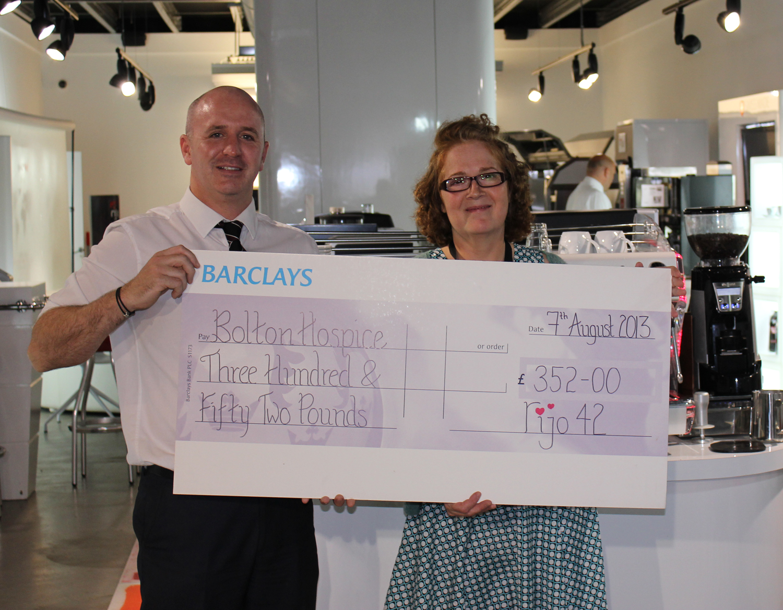 Cheque Presentation To Bolton Hospice