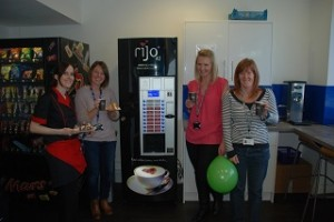 Staff at South Staffs Water pose with their Rijo42 commercial coffee machines. We also supplied free coffee beans for their Macmillan events.